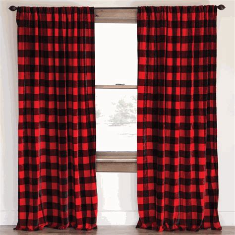 buffalo plaid plush drapes