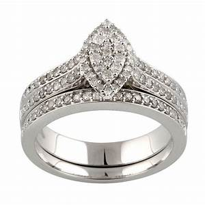 Forever bride 1 2 carat marquise shaped diamond bridal set for Walmart wedding rings
