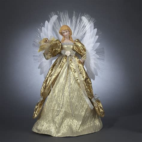 seasons of elegance deluxe gold lighted fiber optic angel