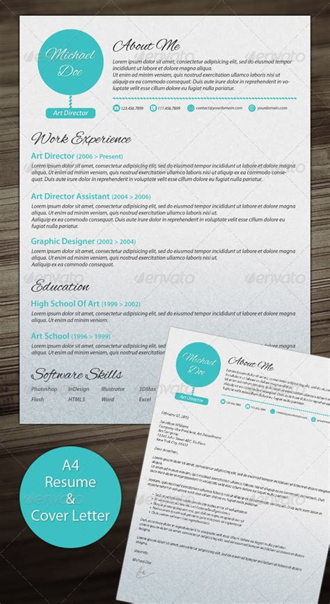 Clean Modern Resume Design by A4 Clean Resume With Cover Letter Graphicriver