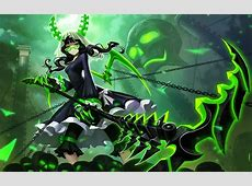 Black rock shooter chain glasses green horns liang xing