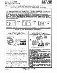 Craftsman 13953778 User Manual 3 Function Transmitter