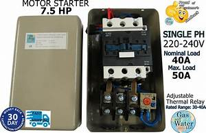 Magnetic Motor Starter Control 7 5 Hp Single Phase 220  240v 30 Off Switch