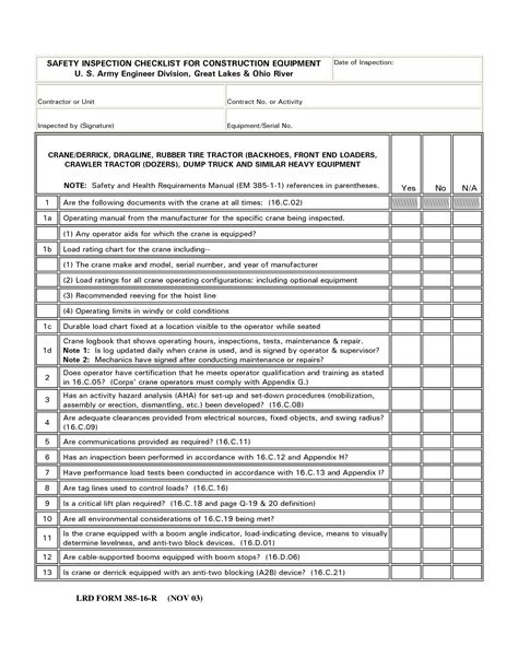 Construction Equipment List Template by Best Photos Of Equipment Inspection Checklist Template