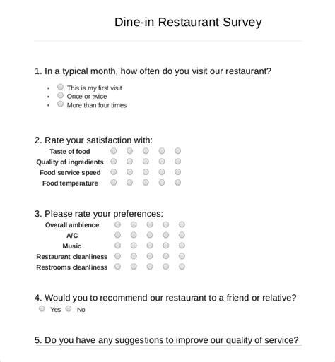 restaurant survey templates word