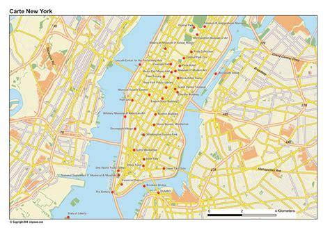 Carte De New York City, Plan Des 120 Principaux Lieux