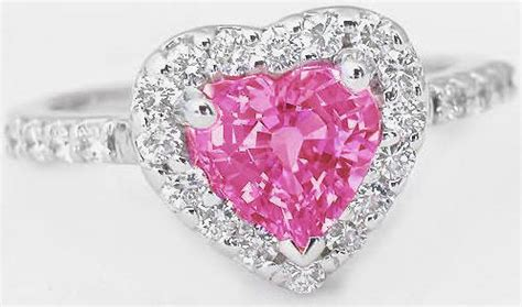 pink gemstone rings  heart shape pink sapphire gr
