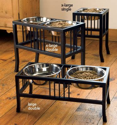 elevated cat food table raised dog bowls wrought iron mission style feeder orvis