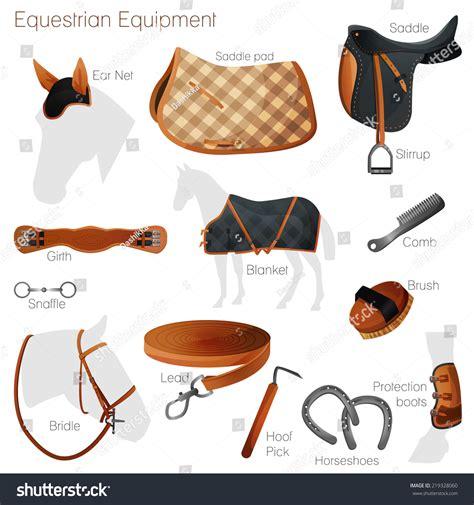 Set Equestrian Equipment Horse Saddle Bridle Stock Vector ...