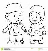 Bambino Dessin Disegno Muslim Drawing Coloring Musulmane Enfant Hijab Vecteur Illustrazione Boy Musulmana Vettore Mano Della Colorare Che Immagini sketch template