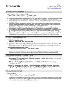 clinical research coordinator resume free sle clinical research associate resume objective images