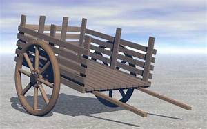 Old Wooden Push / Pull Cart - 3D Model - ShareCG
