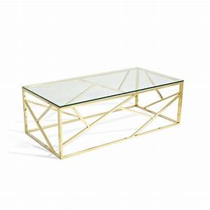 betty glass coffee table in clear with gold base frame With clear and gold coffee table