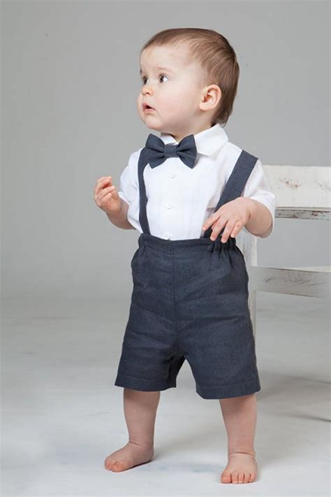 Boy Linen Suit Ring Bearer Outfit Baby Boy Clothes SET Of 4 First Birthday Baptism Suspenders ...