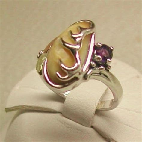 Custom Black Hills Gold On Silver Elk-Ivory With Amethyst