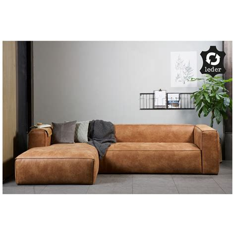 drawer canapé d 39 angle à gauche en éco cuir cognac bean ebay