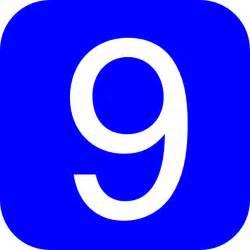 Blue Number 9 Clip Art
