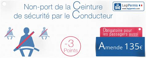 non port de la ceinture de s 233 curit 233 amende et points