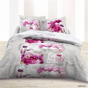 Housse De Couette Grise Et Rose : house de couette pas cher 220x240 cm flowers fleur rose ~ Teatrodelosmanantiales.com Idées de Décoration