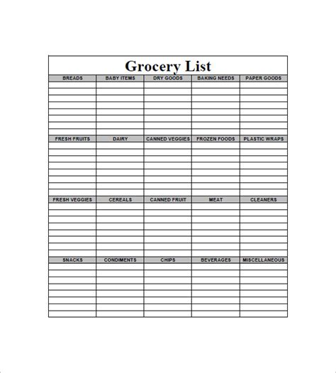 grocery list template 10 blank grocery list templates pdf doc xls free premium templates