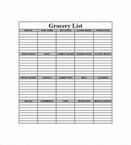 8+ Blank Grocery List Template - Free Word, Excel, PDF ...