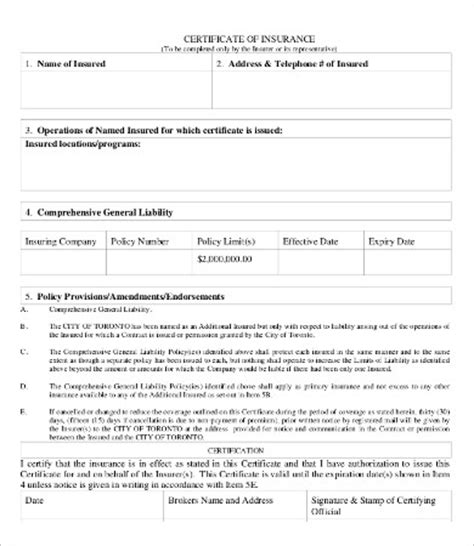 certificate of insurance template blank certificate 9 free word pdf documents free premium templates