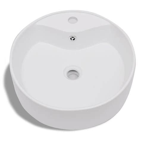 Ceramic Bathroom Sink Basin Faucetoverflow Hole White
