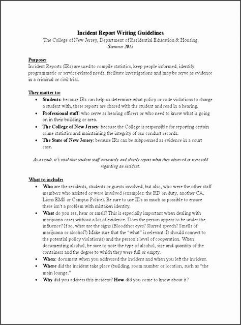 incident report writing sampletemplatess