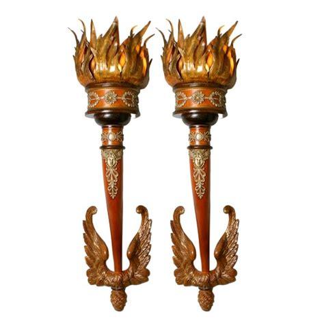 wonderful large pair of carved wooden italian torch