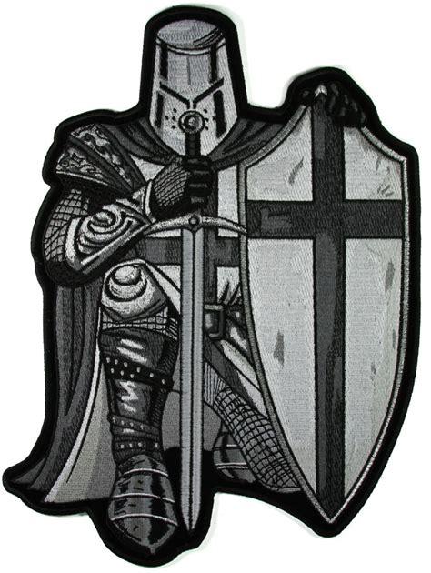plastic is cheap plastic drop crusader kneeling black white large back patch