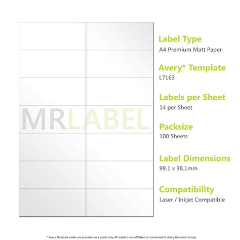 Templates Shipping Label 4 Per Sheet Wide Avery Avery Compatible A4 Self Adhesive Labels L7163 J8163 14