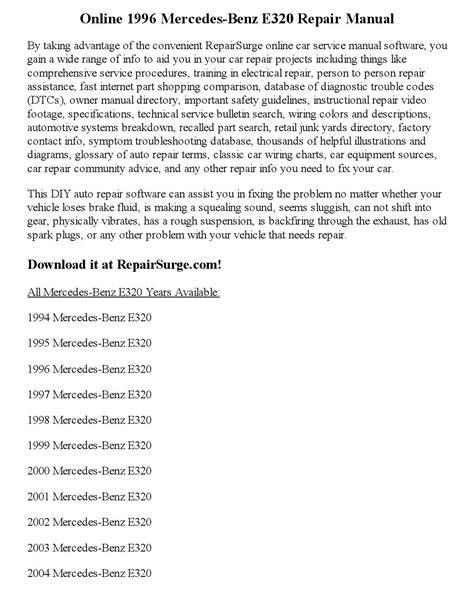 free service manuals online 1996 mercedes benz e class parental controls 1996 mercedes benz e320 repair manual online by joseph lewis issuu