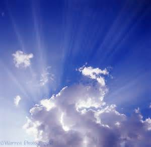 Blue sky and clouds with rays photo - WP04148