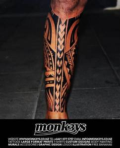 Polynesian Tribal Leg Tattoo | Polynesian tribal full calf ...