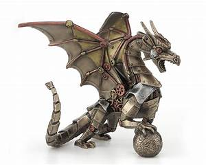 Steampunk Dragon with Sphere Figurine: Steampunk Gifts
