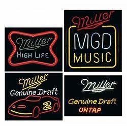 Four Miller Neon Beer Signs