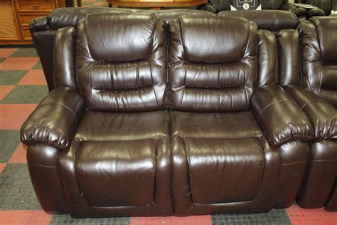 New Chocolate Brown Leather Reclining Sofa And
