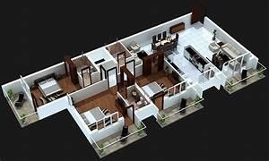 3 Bedroom House Plans 3D Design 4 - House Design Ideas