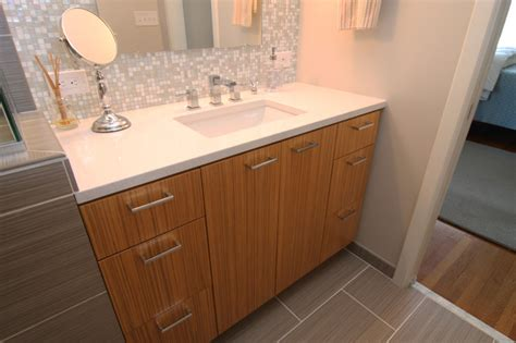 Modern Bathroom Tile Backsplash by Vanity With White Countertop And Mosaic Glass Tile Back