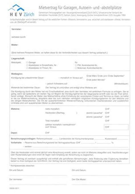 Mietvertrag Für Garagen Und  Hev Zürich