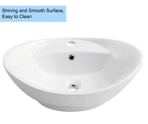 decoraport white oval ceramic above counter vessel sink