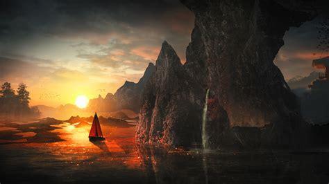 wallpaper sunset boat rocks waterfall harmony hd