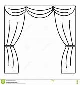 Curtain Stage Outline Icon Vector Illustration sketch template