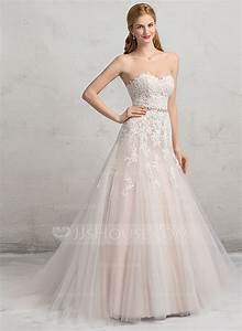 ball gown sweetheart chapel train tulle lace wedding dress With tulle and lace wedding dress