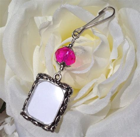 photo charm pink crystal wedding bouquet charm