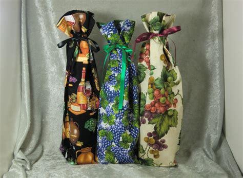 Fabric Wine Bottle Gift Bags   Vineyard Theme   Ted's Woodshop