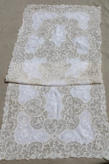 antique vintage tambour embroidered net lace table runner