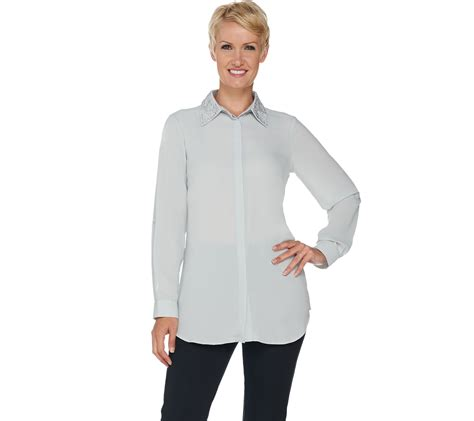 qvc blouses quot as is quot joan rivers silky blouse with embellished collar