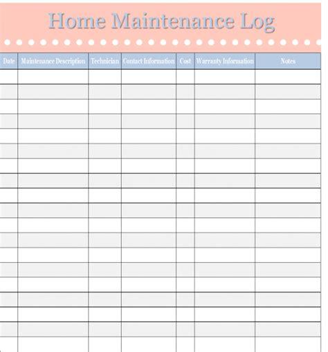 home maintenance log template home management binder