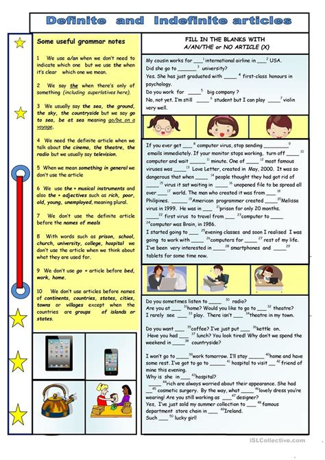 exercises on definite pronouns free printable definite and indefinite articles